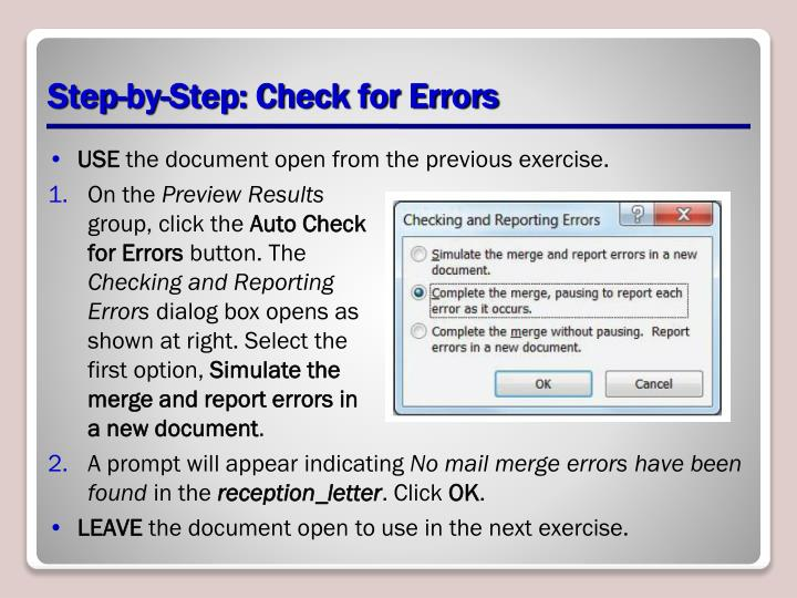 Step-by-Step: Check for Errors