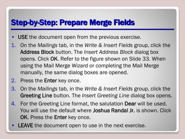 Step-by-Step: Prepare Merge Fields