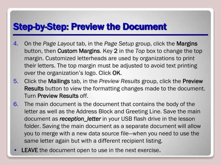 Step-by-Step: Preview the Document