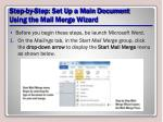 step by step set up a main document using the mail merge wizard