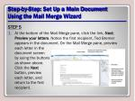 step by step set up a main document using the mail merge wizard16