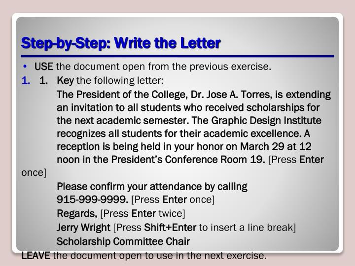 Step-by-Step: Write the Letter