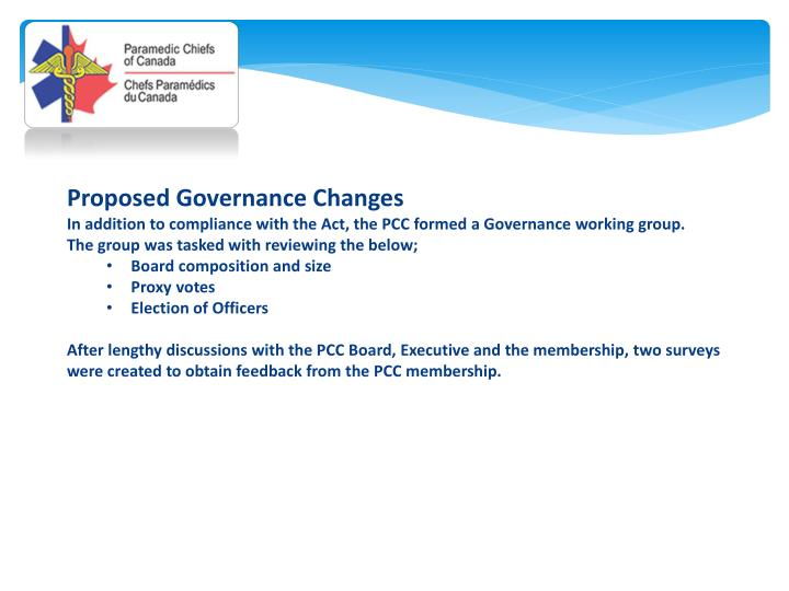 Proposed Governance Changes