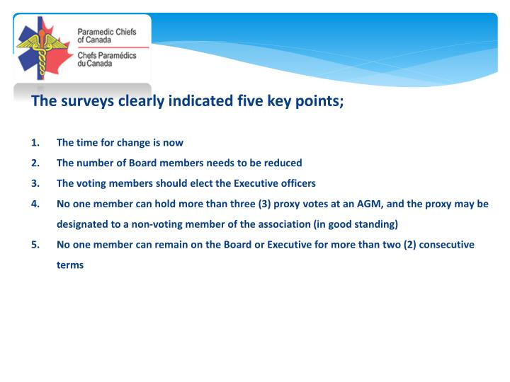 The surveys clearly indicated five key points;