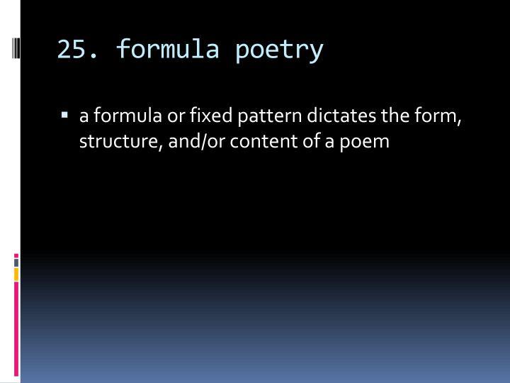 25. formula poetry