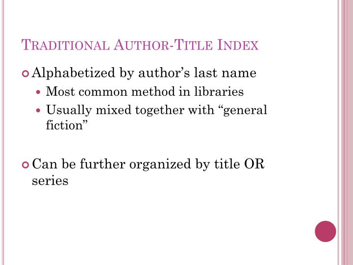 Traditional Author-Title Index