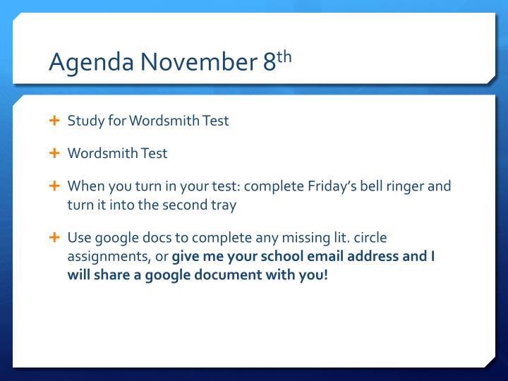 Agenda November 8