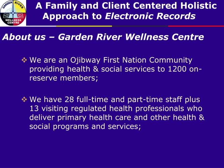 About us garden river wellness centre