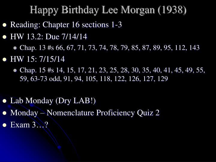 Happy birthday lee morgan 1938
