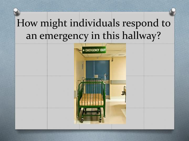 How might individuals respond to an emergency in this hallway?
