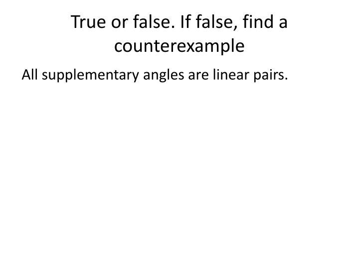 True or false. If false, find a counterexample