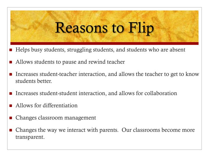Reasons to flip