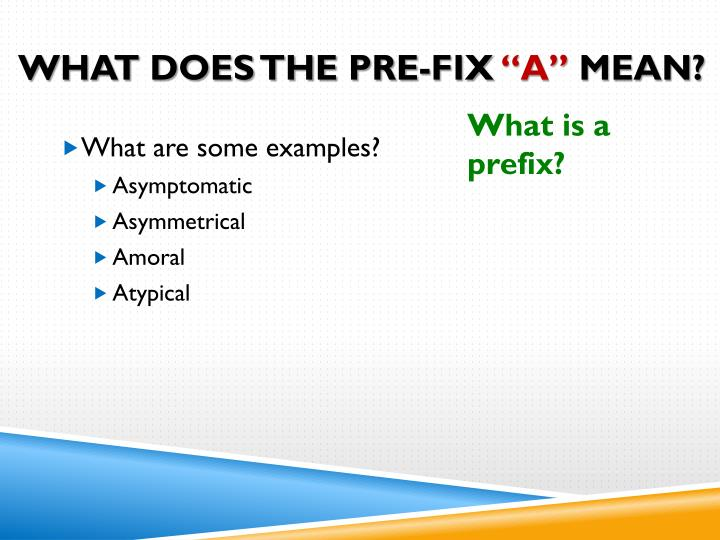 What Does the Pre-Fix