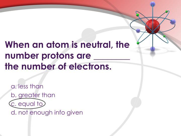 When an atom is neutral, the