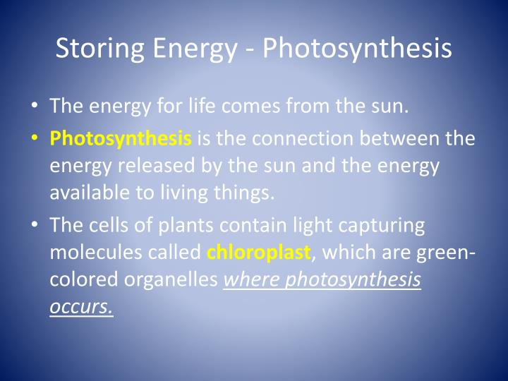 Storing Energy - Photosynthesis