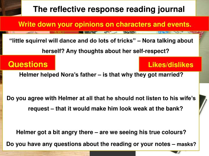 The reflective response reading journal