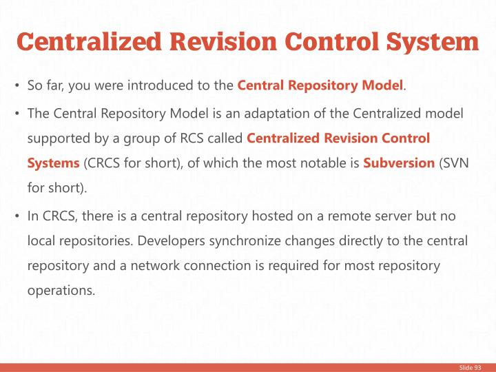 Centralized Revision Control System