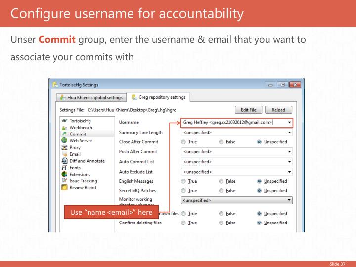 Configure username for accountability