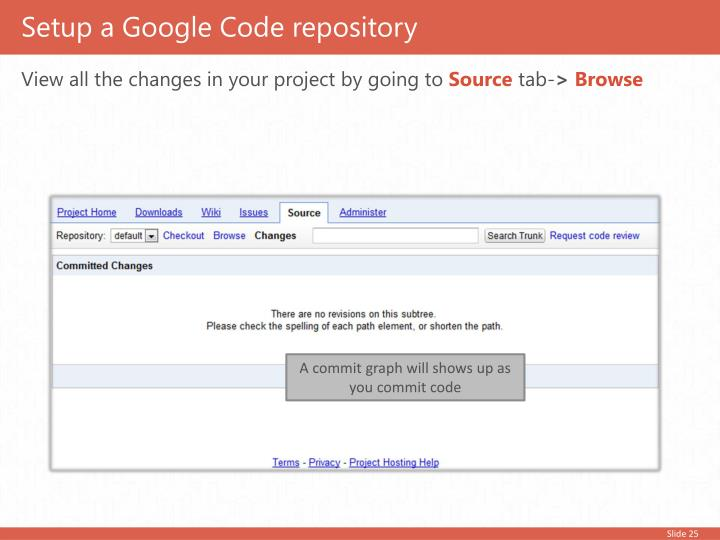 Setup a Google Code repository