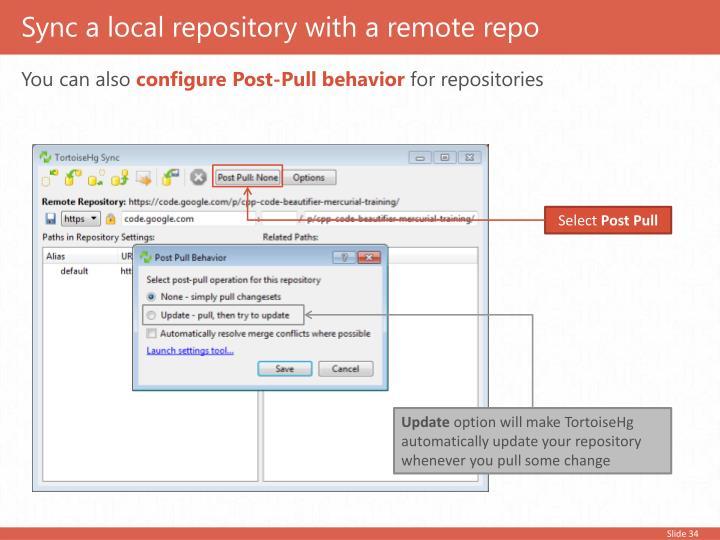 Sync a local repository with a remote repo
