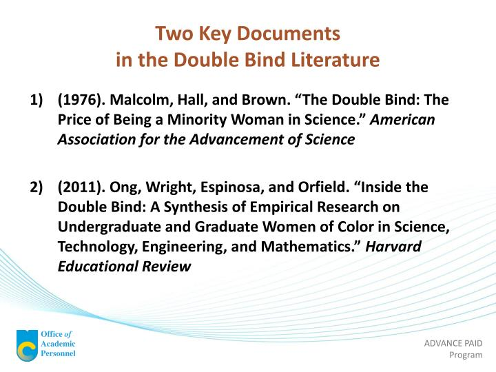 Two key documents in the double bind literature