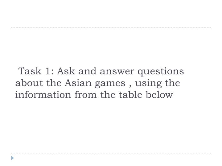 Task 1: Ask and answer questions about the Asian games , using the information from the table below