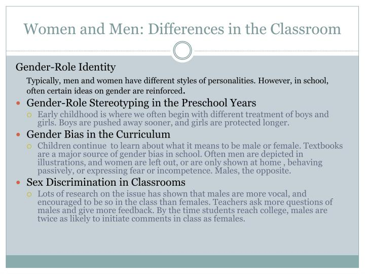 Women and Men: Differences in the Classroom