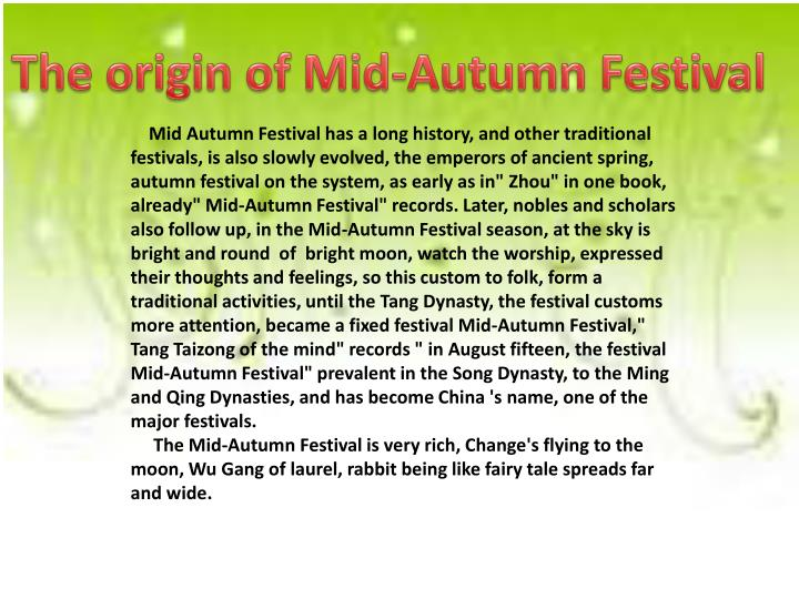 The origin of Mid-Autumn Festival