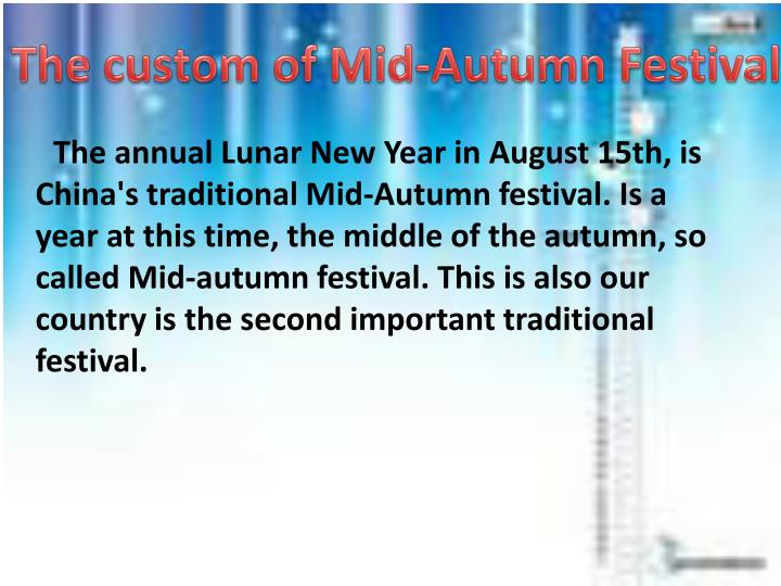 The custom of Mid-Autumn Festival
