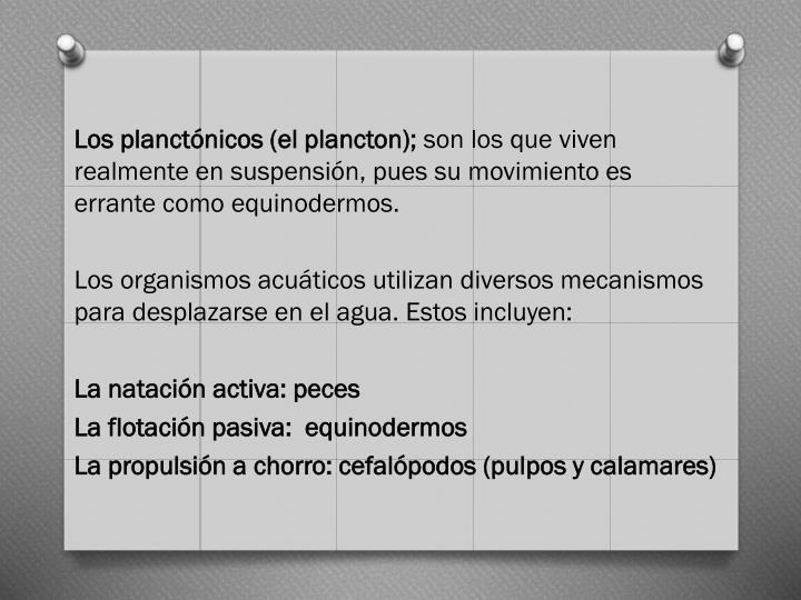 Los planctónicos (el plancton);
