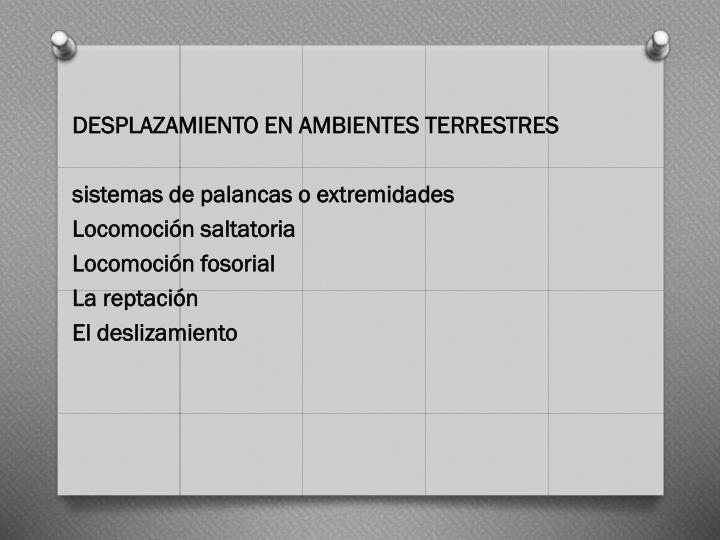 DESPLAZAMIENTO EN AMBIENTES TERRESTRES