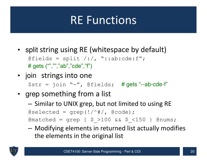 RE Functions