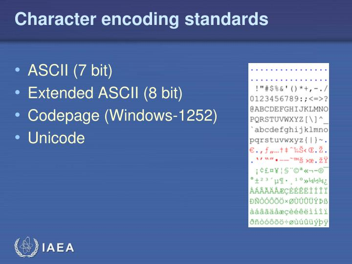 Character encoding standards