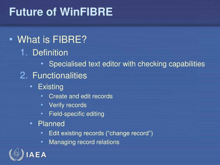 Future of WinFIBRE