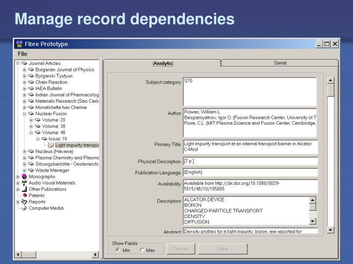 Manage record dependencies