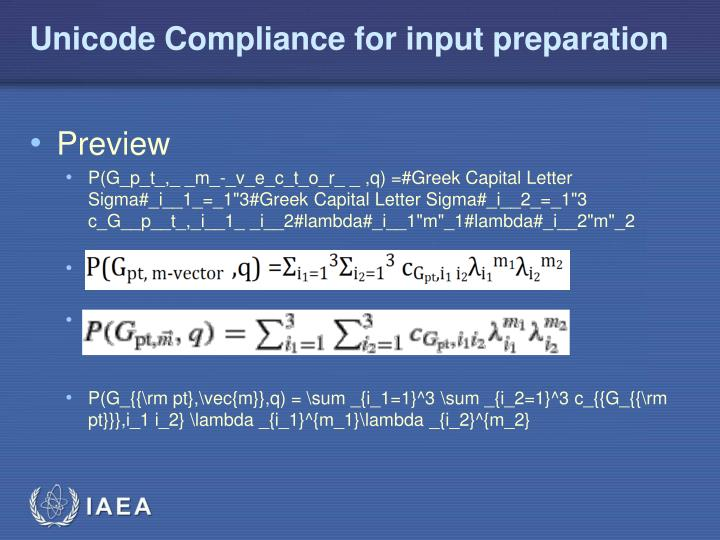 Unicode Compliance for input preparation