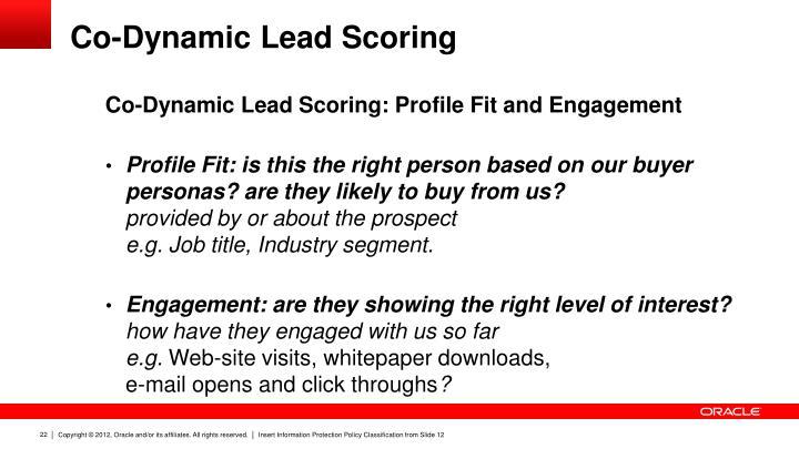 Co-Dynamic Lead Scoring