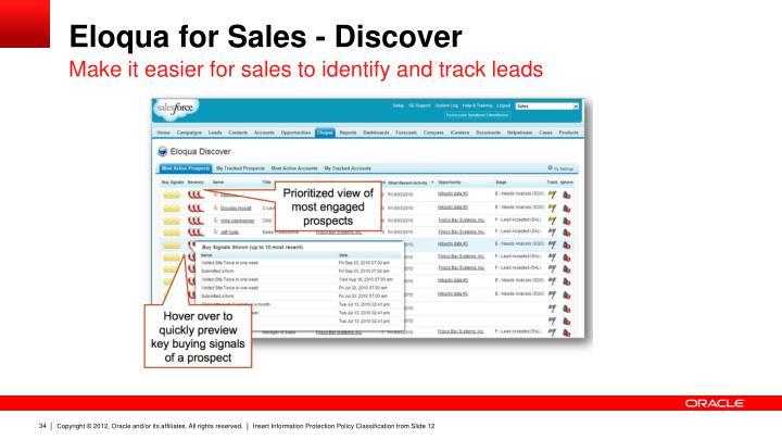 Eloqua for Sales - Discover
