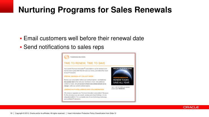 Nurturing Programs for Sales Renewals