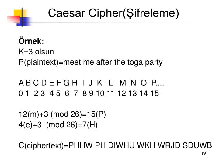 Caesar Cipher(Şifreleme)