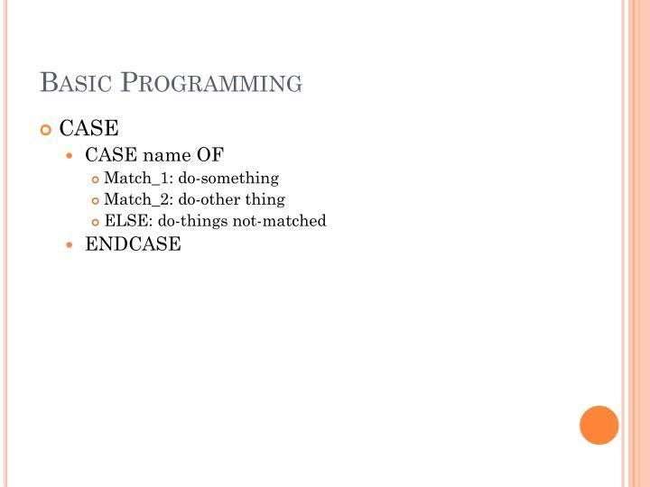 Basic Programming