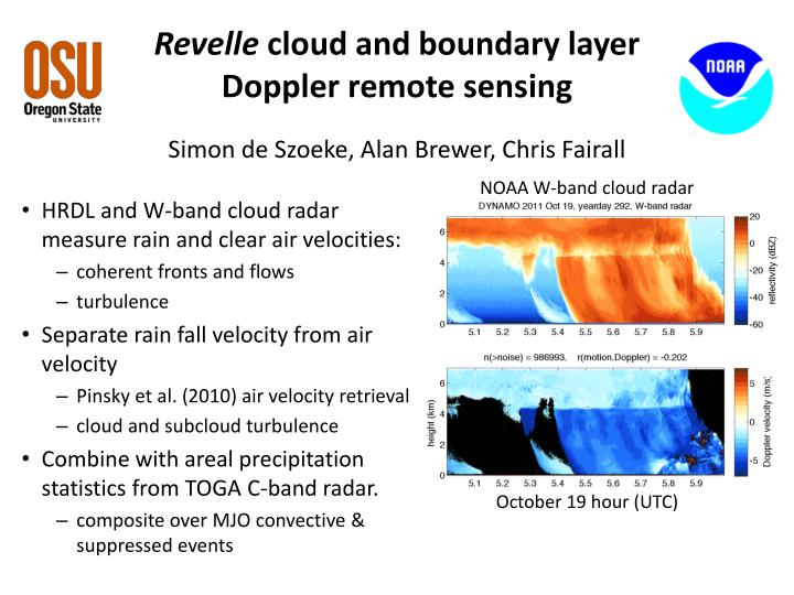 Revelle cloud and boundary layer doppler remote sensing simon de szoeke alan brewer chris fairall
