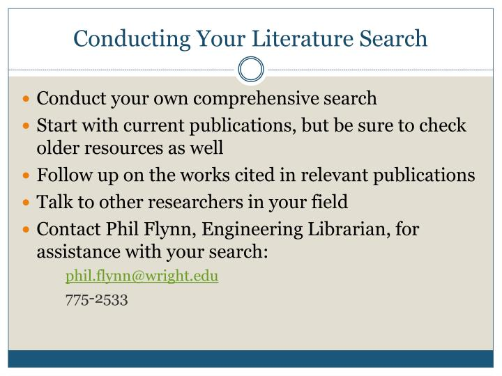 Conducting Your Literature Search