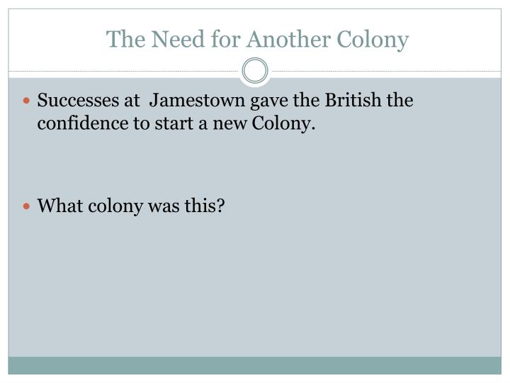 The Need for Another Colony