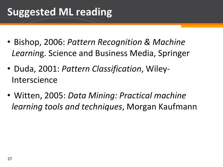 Suggested ML reading