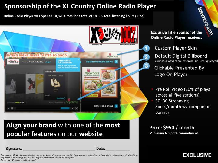 Sponsorship of the XL Country Online Radio Player