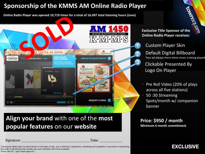 Sponsorship of the KMMS AM Online Radio Player