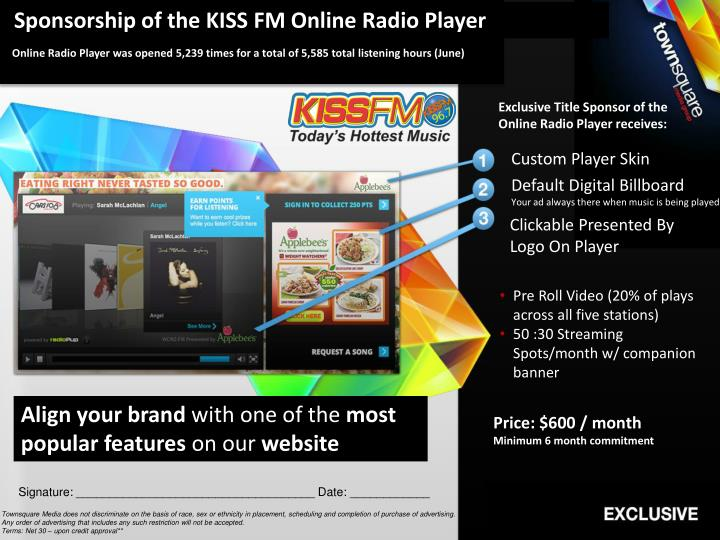 Sponsorship of the KISS FM Online Radio Player