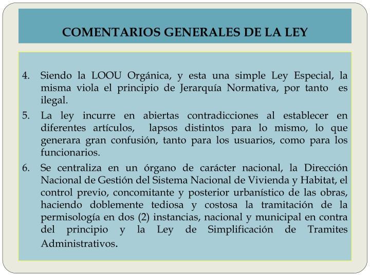 COMENTARIOS GENERALES DE LA LEY