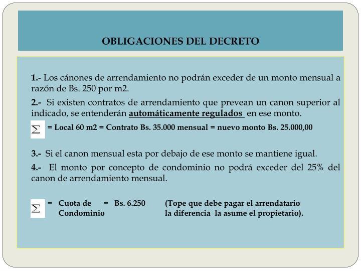 OBLIGACIONES DEL DECRETO